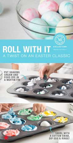 Here's a twist on an Easter classic! Dye your eggs with just shaving cream and food coloring. Nestle them in a muffin tin to keep messes at bay, and voilà, you just made marble-dyed Easter eggs. Go to macys.com now & shop everything you need from the Martha Stewart Collection.