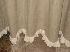 Ruffled Linen Shower Curtain-Lined Shower Curtain with 1 Ruffled Hem-Your Linen Color Choice Ruffled Linen Shower Curtain-Lined Shower by cottageandcabin Burlap Window Treatments, Burlap Valance, Ruffle Shower Curtains, Shower Sizes, Cat Litter Mat, Devine Design, Thing 1, Curtains, Colors