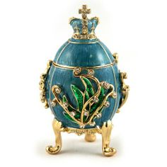Faberge Style Egg Jewelry Box 'Lily of the Valley' Small Blue