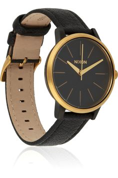 Nixon|Kensington leather and stainless steel watch|