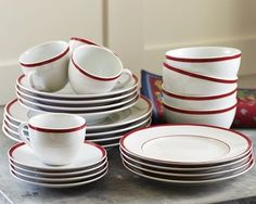 Brasserie Red-Banded Porcelain Dinnerware Set for whichever party you're supporting from Williams-Sonoma Red Dinnerware, Porcelain Dinnerware, Chalet Chic, Green Christmas, Breakfast Bowls, Cooking Utensils, Place Settings, Gourmet Recipes, Kitchen Decor