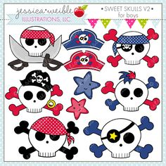 Sweet Skulls V2 Boys - 10 graphics for your creative projects.