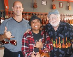 Ukulele Mike Lynch with Aldrinne Guererro of UKULELE UNDERGROUND and Sam Bonanno, owner of Larry's Music in Kauai