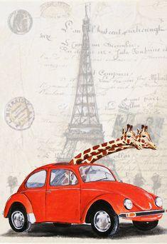 Art Illustration giraffe paris  Giclee Print by CocktailZoo, $10.00