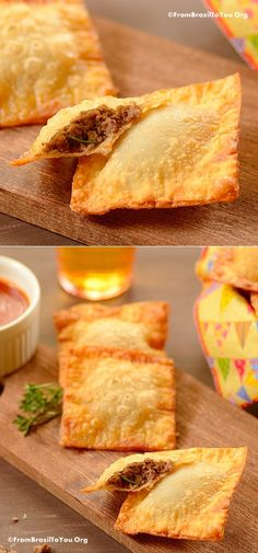 Quick Fried Beef Empanadas (Pastel de Carne) QUICK fried beef empanadas made with wonton wraps and ground beef… A crowd-pleasing appetizer and snack — great for parties, games, and other occasions! Mexican Dishes, Mexican Food Recipes, Brazil Food, Brazil Brazil, Wonton Wraps, Beef Empanadas, Wonton Recipes, Fried Beef, Partys
