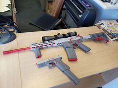 custom Cerakoted as a Nintendo Zapper in Battleship Gray and Ghost Gray and Smith & Wesson Red