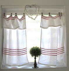 Sweet cafe curtains with red trim