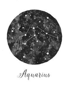 Aquarius Constellation Illustration Vertical by fercute on Etsy