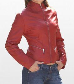 handmade women Red Leather Jacket women Red biker by ukmerchant, $119.99