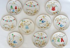 vintage cake plate set made modern with quirky and sweet screenprinting.