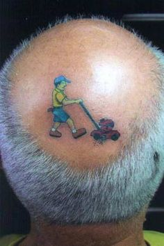 Mower on the head. This will be my husband some day.