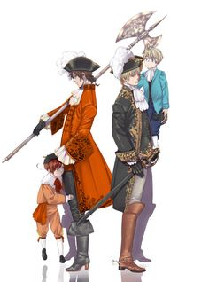 Antonio and Arthur with little Lovino and Alfred - Artist unknown (was on Pixiv, but it's been deleted)