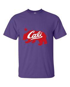 Cali Bear Red Fashion California Republic T-Shirt