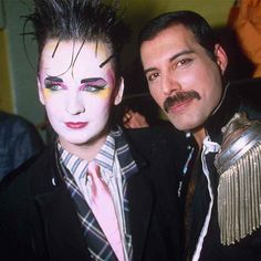 Boy Georg with Freddie Mercury at the Fashion Aid Charity Show at Royal Albert Hall London, Britain in 1985