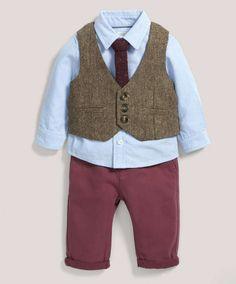 Occasion Tweed Waistcoat Shirt Bow-Tie & Chino Set - All Boys - Mamas &…