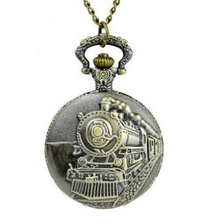 Steam Train Clock Necklace Pocket Watch Antique Style Pendant Jewelry