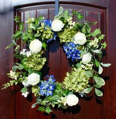 Spring Door Wreath with Hydrangea, Peony, and Mixed Berries in 20-22 Inch Diameter