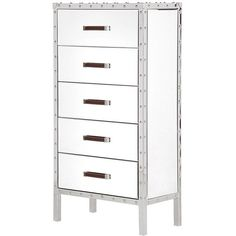 Venetian Lido 5 Drawer Mirrored Chest (£654) ❤ liked on Polyvore featuring home, furniture, storage & shelves, dressers, glass furniture, drawer dresser, glass dresser, storage dresser and drawer furniture