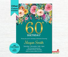 60th Birthday Invitations for Women. Surprise 60th Birthday Invitation. Cheers To 60 Years. Floral Birthday Invitation. Gold Foil. A15