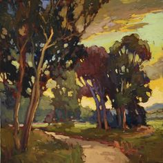 """At Dusk"" - Jan Schmuckal - Oil On Board - California Landscape - Arts & Crafts - Bungalow"