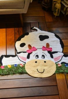 Crochet&Knitting For Happy Baby Crochet Cow, Crochet For Kids, Diy Crafts Crochet, Crochet Projects, Crochet Rug Patterns, Knitting Patterns, Cow Rug, Diy Crafts Materials, Kids Canvas Art