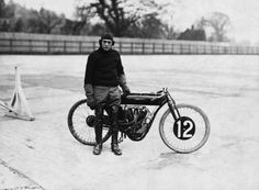 Circa 1911– Motorcyclist Oscar Godfrey poses with his Indian motorcycle during the B.M.C.R.C. trials at Brooklands. — Image by © Hulton-Deutsch Collection.