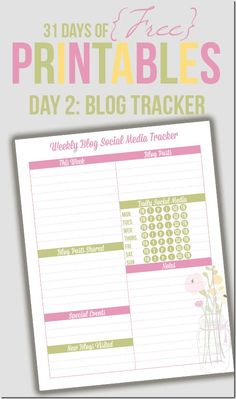 Welcome to Day 2 of the 31 days of free printables! Today's printable is one that was requested by a reader. Raquel needed a weekly blog and social media tracker, which I think is a fantastic idea! There is so much to keep to track of when it comes to blogging and social media. She …