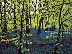 Bluebells on a Bright Day, Alexandra Buckle, linocut