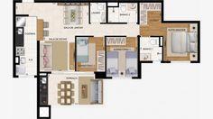 Apto de 86 m² c/ 3 dorms (1 suite) + lavabo.