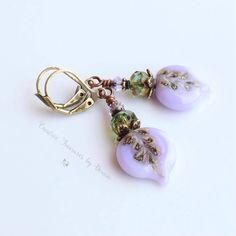 Purple Brass Earrings Violet Flower Leaf Lampwork Headpins Czeck Glass Beads Swarovski Crystals Boho Earrings by Ctbydonna on Etsy