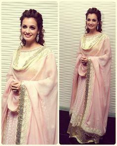 Diya mirza is looking marvelous in a pink floor length anarkali. Bollywood fashion. Indian fashion.