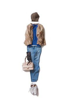 冬に着るブルーのスタイル
