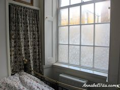 DiY Temporary lace window treatment! No damage to windows, easy to remove.