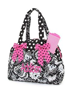 Monogrammed S Diaper Bag Set Fl Black White With Hot Pink Trim Personalized Free 38 00 Via Etsy