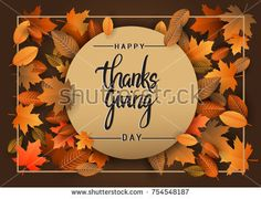 Happy Thanksgiving typography poster isolated with leaves for Thanksgiving postcard, icon or badge. Vector calligraphy lettering holiday quote