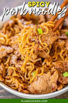 Spicy Pork Noodles - ready to eat in 10 minutes!!! Only 5 ingredients! Great weeknight meal!! Great way to use up leftover pork tenderloin. Pork tenderloin, brown sugar, soy sauce, chili garlic sauce, ramen noodles and green onions for garnish. Can add green beans or asparagus. We ate this twice in one week. Everyone LOVES this easy noodle bowl!! #pork #asian #ramen #noodles Pork Noodles, Pork Pasta, Zucchini Noodles, Ramen Noodle Recipes, Pork Stirfry Recipes, Recipes With Spaghetti Noodles, Leftover Spaghetti Noodles, Quick Weeknight Meals, Green Onions