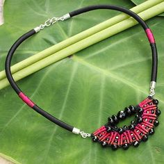 Crocheted Onyx Necklace