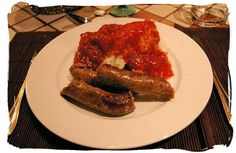 """Mieliepap, boerewors en sous"""" maize porridge, sausage and sauce, a favourite with all South Africans - South Africa's Traditional African Food"""