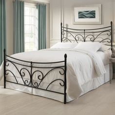 Overawe Wrought Iron Headboard With White Bedding