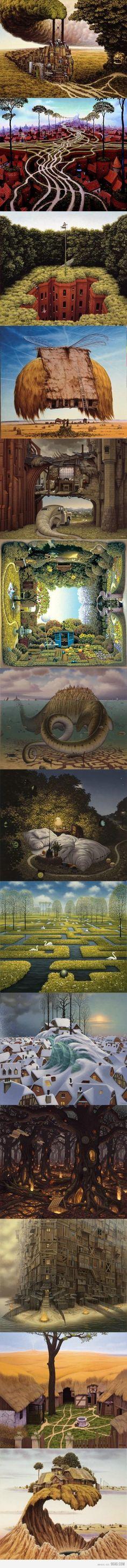 L'artiste Jacek Yerka n'a pas son pareil pour réaliser des tableaux où fourmillent, dans une certaine harmonie, une multitude de détails . A mi-chemin entre le surréalisme et le réalisme magique, son travail évoque les travaux de ses emblématiques successeurs, tels que Dali, Magritte ou Arcimboldo (ce dernier ayant lui-même inspiré les deux précédents).