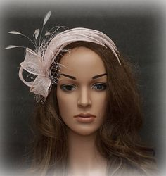 Blush pink pale pink cute fascinator with rhinestones and African Hats, Derby Outfits, Fascinator Headband, Tea Party Hats, Turban Style, Kentucky Derby Hats, Headdress, Hair Pieces, Hats For Women