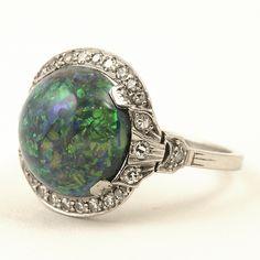 J. E. Caldwell Art Deco Black Opal, Diamond and Platinum Ring, 1925