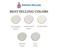 Best Selling Sherwin-Williams Colors Set of 5 Sherwin Williams Agreeable Gray, Sherwin Williams White, Sea Salt Sherwin Williams, Sherwin Williams Alabaster, Accessible Beige Sherwin Williams, Wordly Gray Sherwin Williams, Kilim Beige Sherwin Williams, Passive Sherwin Williams, Sherwin Williams Creamy