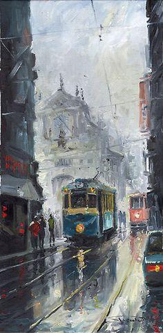 """Prague - Old Tram 04"" - Pintura de Yuriy Shevchuk"