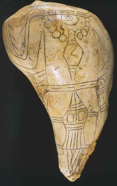 Conch shell engraved cup from Craig Mound at Spiro, ca. 1300, depicting elaborately attired falcon warrior or chief-priest.