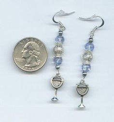 Hand Beaded Glass Bead Wine Glass Charm Earrings Blue & Silver - Pretty