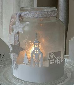 For at home and as a gift. I love this Ed # Christmas wind light …. For at home and also as … - New Site Christmas Lanterns, Christmas Jars, Christmas Holidays, Christmas Decorations, Fairy Lanterns, Mason Jar Crafts, Bottle Crafts, Lace Mason Jars, Mason Jar Lanterns