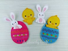Easter Bunny and Chick Finger Puppets with Easter Egg Pouch for Storage - Celebration Birthday Gift Idea by AHeartlyCraft on Etsy