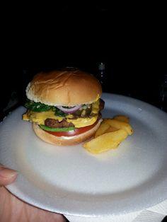 Tomato, Avacado, Sauted spinach and garlic, Red onion, Cheeseburger