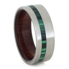 Titanium Ring Wood Sleeve Titanium Malachite Ring